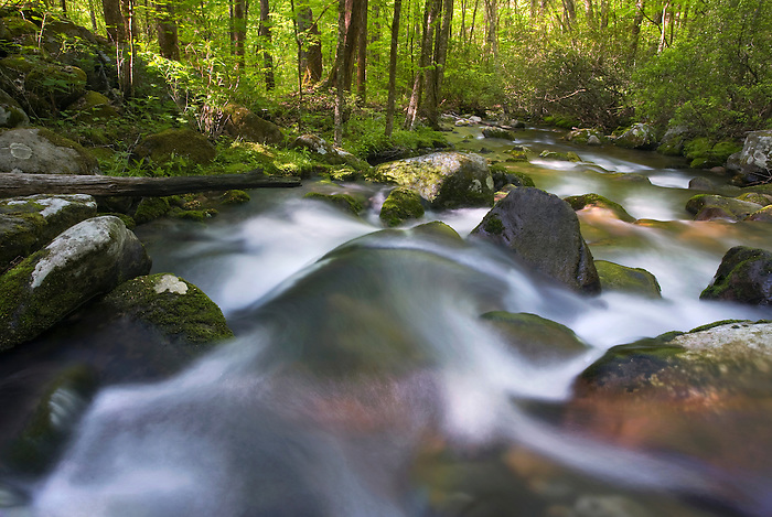 """OCONALUFTEE SPRING"" -- Spring cascades in Great Smoky Mountains National Park along the Oconalufee River, near Cherokee, NC. The park is located on the border of North Carolina and Tennessee in the southern Appalachian mountains."