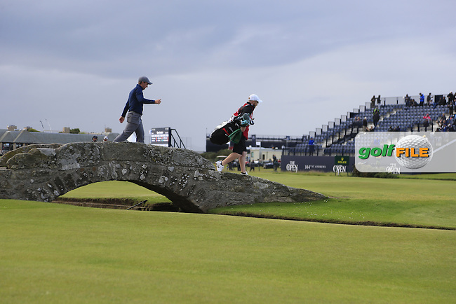 Paul DUNNE (AM)(IRL) crosses the Swilcan Bridge on the 18th hole during Sunday's Round 3 of the 144th Open Championship, St Andrews Old Course, St Andrews, Fife, Scotland. 19/07/2015.<br /> Picture Eoin Clarke, www.golffile.ie