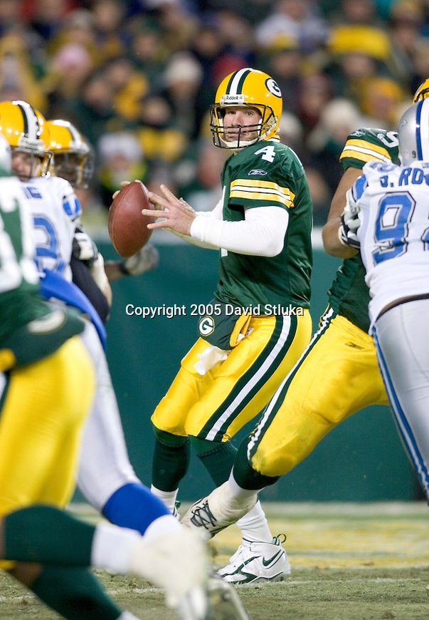 Green Bay Packers quarterback Brett Favre (4) during an NFL football game against the Detroit Lions at Lambeau Field on December 11, 2005 in Green Bay, Wisconsin. The Packers beat the Lions 16-13 in OT. (Photo by David Stluka)