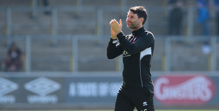 Lincoln City manager Danny Cowley applauds the fans during the pre-match warm-up<br /> <br /> Photographer Chris Vaughan/CameraSport<br /> <br /> The EFL Sky Bet League Two - Carlisle United v Lincoln City - Friday 19th April 2019 - Brunton Park - Carlisle<br /> <br /> World Copyright © 2019 CameraSport. All rights reserved. 43 Linden Ave. Countesthorpe. Leicester. England. LE8 5PG - Tel: +44 (0) 116 277 4147 - admin@camerasport.com - www.camerasport.com