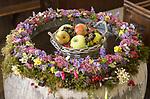 Apples fruit blackberries flowers, Harvest Festival decoration, Milton church, Wiltshire, England, UK
