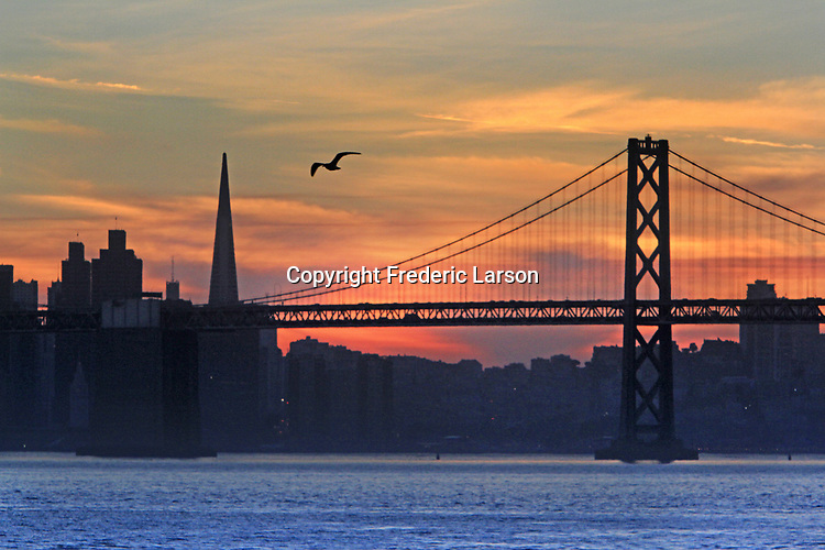 The sunset seen from Oakland ports,