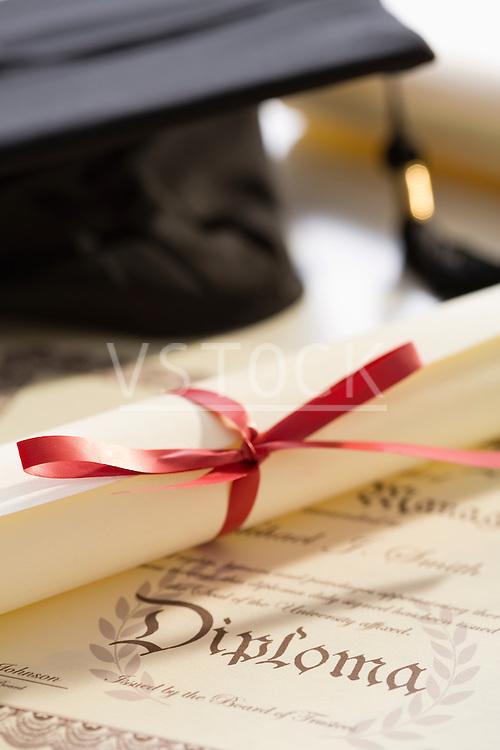 Close-up view of graduation diploma