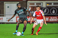 Liverpool's defender Billy Koumetio (89) closed down by Fleetwood Town's forward Harvey Saunders (32) during the The Leasing.com Trophy match between Fleetwood Town and Liverpool U21 at Highbury Stadium, Fleetwood, England on 25 September 2019. Photo by Stephen Buckley / PRiME Media Images.