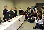 """May 14, 2012, Tokyo, Japan - Outgoing and incoming presidents of financially troubled Tokyo Electric Power Co., attend a news conference at its head office in Tokyo, reporting a bigger-than-anticipated annual loss on Monday, May 14, 2012...The operator of the crippled Fukushima Daiichi nuclear plant said its 781-billion-yen net loss came in a year in which it was hit with massive costs to deal with reactor meltdowns, as well as increased imports of fossil fuels to make up for a nuclear power shortfall. Revenue was 5.35 trillion yen, down from 5.37 trillion yen a year earlier. Naomi Hirose, who will replace Toshio Nishizawa, said warned that """"unexpected situations"""" this summer could make its already shaky energy supply even tougher as Japan's atomic reactors remain offline. (Photo by Natsuki Sakai/AFLO) AYF -mis-."""