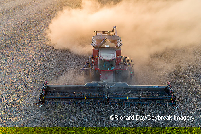63801-13513 Harvesting soybeans in fall-aerial  Marion Co. IL