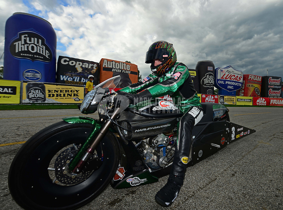 Sept 9, 2012; Clermont, IN, USA: NHRA pro stock motorcycle rider Andrew Hines celebrates after winning the US Nationals at Lucas Oil Raceway. Mandatory Credit: Mark J. Rebilas-