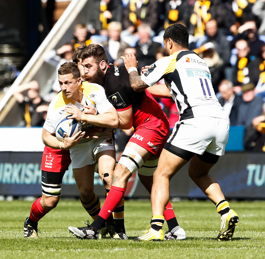 Wasps' Jimmy Gopperth in action during todays match<br /> <br /> Photographer Simon King/CameraSport<br /> <br /> Rugby Union - European Rugby Champions Cup Semi Final - Saracens v Wasps - Saturday 23rd April 2016 - Madejski Stadium - Reading<br /> <br /> &copy; CameraSport - 43 Linden Ave. Countesthorpe. Leicester. England. LE8 5PG - Tel: +44 (0) 116 277 4147 - admin@camerasport.com - www.camerasport.com