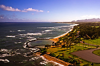 Aerial view of Lydgate Park and the eastern shore of Kaua'i, looking south.