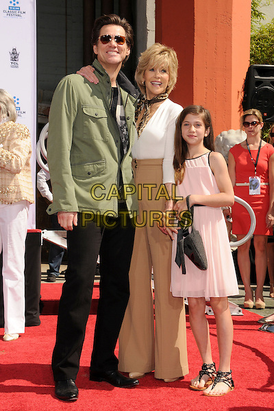 Jim Carrey, Jane Fonda, Viva Vadim.TCM Classic Film Festival 2013 - Jane Fonda Handprint and Footprint Ceremony held at the TCL Chinese Theatre, Hollywood Walk of Fame, Hollywood, California, USA, 27th April 2013..full length green khaki jacket sunglasses brown beige tan high waisted trousers wide leg white top pin dress scarf arm around .CAP/ADM/BP.©Byron Purvis/AdMedia/Capital Pictures