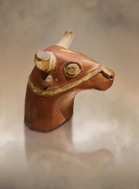 Hittite terra cotta bull head - 17th -16th century BC- Hattusa ( Bogazkoy ) - Museum of Anatolian Civilisations, Ankara, Turkey