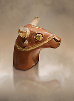 Hittite terra cotta bull head - 17th -16th century BC- Hattusa ( Bogazkoy ) - Museum of Anatolian Civilisations, Ankara, Turkey