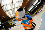 Rüsselsheim, Germany, April 13: The VC Wiesbaden mascot Vincent after play off Game 1 in the best of three series in the semifinal of the DVL (Deutsche Volleyball-Bundesliga Damen) season 2013/2014 between the VC Wiesbaden and the Rote Raben Vilsbiburg on April 13, 2014 at Grosssporthalle in Rüsselsheim, Germany. Final score 0:3 (Photo by Dirk Markgraf / www.265-images.com) *** Local caption ***