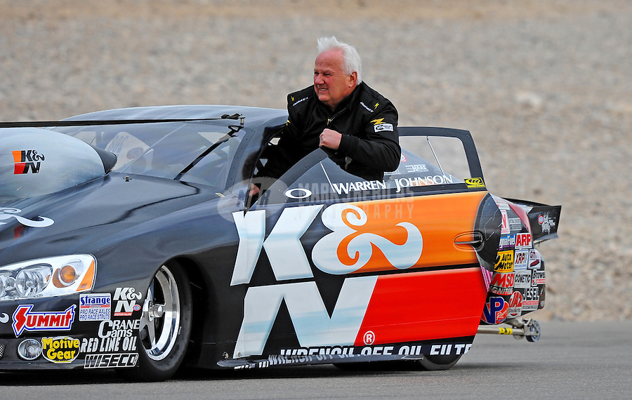 Apr. 3, 2009; Las Vegas, NV, USA: NHRA pro stock driver Warren Johnson during qualifying for the Summitracing.com Nationals at The Strip in Las Vegas. Mandatory Credit: Mark J. Rebilas-