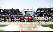 February 1st 2019; Adu Dhabi, United Arab Emirates; Asian Cup football final, Japan versus Qatar; Players of Qatar and Japan pose ahead of the final match between Japan and Qatar