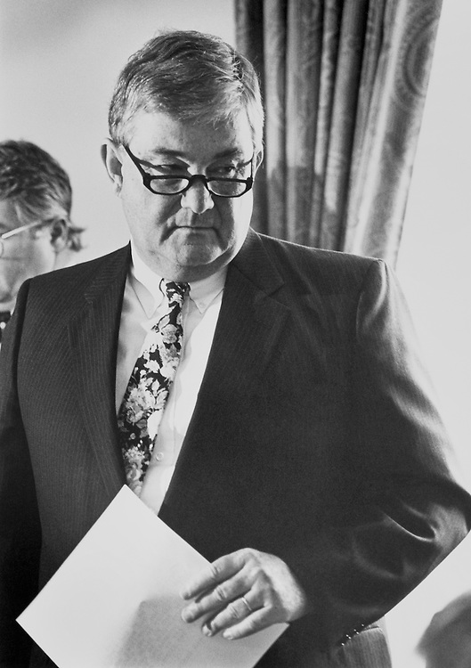 "Rep. Charles Grandison ""Charlie"" Rose III, D-N.C., House of Representatives Member, before a House Administration meeting. July 1992 (Photo by Laura Patterson/CQ Roll Call)"