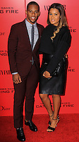 """NEW YORK, NY - NOVEMBER 20: Victor Cruz, Elaine Watley at the New York Premiere Of Lionsgate's """"The Hunger Games: Catching Fire"""" held at AMC Lincoln Square Theater on November 20, 2013 in New York City. (Photo by Jeffery Duran/Celebrity Monitor)"""