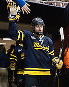 Jonathan Lashyn (Merrimack - 7) - The Boston College Eagles defeated the visiting Merrimack College Warriors 2-1 on Wednesday, January 21, 2015, at Kelley Rink in Conte Forum in Chestnut Hill, Massachusetts.
