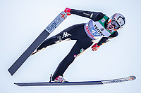 1st January 2020, Olympiaschanze, Garmisch Partenkirchen, Germany, FIS World cup Ski Jumping, 4-Hills competition; Federico Cecon of Italy during his trial Jump for the Four Hills Tournament