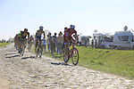 The peloton including Alexander Kristoff (NOR) Team Katusha Alpecin on pave sector 17 Hornaing a Windignies during the 115th edition of the Paris-Roubaix 2017 race running 257km Compiegne to Roubaix, France. 9th April 2017.<br /> Picture: Eoin Clarke | Cyclefile<br /> <br /> <br /> All photos usage must carry mandatory copyright credit (&copy; Cyclefile | Eoin Clarke)