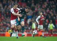 Arsenal's Granit Xhaka and Southampton's Pierre-Emile Hojbjerg during the EPL - Premier League match between Arsenal and Southampton at the Emirates Stadium, London, England on 8 April 2018. Photo by Andrew Aleksiejczuk / PRiME Media Images.