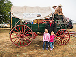 The Cooper family, Days of '49 wagon train at their start, Cooper Vineyards, Shenandoah Valley, Calif.<br /> <br /> Diamond Jubilee commemoration of the founding of Amador County in 1854