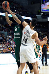 Zalgiris' Brandon Davies and Real Madrid's Gustavo Ayon during Euroligue match between Real Madrid and Zalgiris Kaunas at Wizink Center in Madrid, Spain. April 4, 2019.  (ALTERPHOTOS/Alconada)