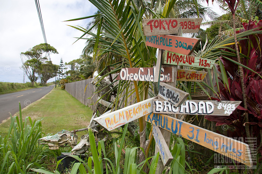 International places and distance signs along the Hana highway.