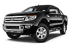 Stock pictures of low aggressive front three quarter view of a 2014 Ford Ranger Limited 4 Door Pickup Low Aggressive