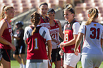 Los Angeles, CA 04/22/16 - Meg Lentz (Stanford #6), Alex Poplawski (Stanford #28), Kelsey Murray (Stanford #21), Amanda Johansen (USC #7), Kaitlyn Couture (USC #18) and Courtney Tarleton (USC #1) in action during the NCAA Stanford-USC Division 1 women lacrosse game at the Los Angeles Memorial Coliseum.  USC defeated Stanford 10-9/