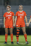27 October 2016: Clemson's Katie Sprouse (4) and Claire Wagner (5). The Duke University Blue Devils hosted the Clemson University Tigers at Koskinen Stadium in Durham, North Carolina in a 2016 NCAA Division I Women's Soccer match. Clemson won the game 1-0.