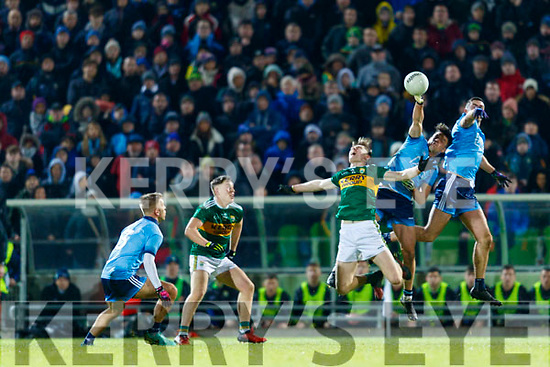 Diarmuid O'Connor Kerry in action against  Eric Lowndes and James McCarthy Dublin during the Allianz Football League Division 1 Round 3 match between Kerry and Dublin at Austin Stack Park in Tralee, Kerry on Saturday night.