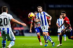 Asier Illarramendi Andonegi of Real Sociedad (C) looks to bring the ball down during the La Liga 2018-19 match between Atletico de Madrid and Real Sociedad at Wanda Metropolitano on October 27 2018 in Madrid, Spain.  Photo by Diego Souto / Power Sport Images