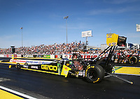 Mar 28, 2014; Las Vegas, NV, USA; NHRA top fuel dragster driver Richie Crampton during qualifying for the Summitracing.com Nationals at The Strip at Las Vegas Motor Speedway. Mandatory Credit: Mark J. Rebilas-