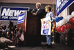 UNITED STATES FILE PHOTO: Rep. Newt Gingrich, R-Ga., makes his victory speech during election night on Nov. 8, 1994, in Marietta, Ga. Gingrich became Speaker of the House following the 1994 election. (Photo by Bill Clark)