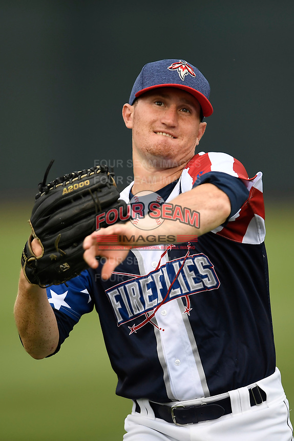 Infielder Ian Strom (40) of the Columbia Fireflies warms up before a game against the Rome Braves on Monday, July 3, 2017, at Spirit Communications Park in Columbia, South Carolina. Columbia won, 1-0. (Tom Priddy/Four Seam Images)