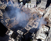 Ground Zero, New York City, N.Y.  - Sept. 17, 2001 -- An aerial view shows only a small portion of the crime scene where the World Trade Center collapsed following the September 11, 2001 terrorist attack on September 17, 2001.  Surrounding buildings were heavily damaged by the debris and massive force of the falling twin towers.  Clean-up efforts are expected to continue for months.  <br /> Mandatory Credit: Eric J. Tilford - US Navy via CNP