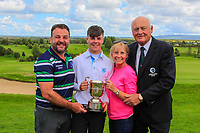 Sam Murphy (Portumna) winner of the Connacht U16 Boys Open 2018 with his Dad Brian and mother Lyndsay and Jimmy Duggan (Hon Sec Connacht Golf) at the Gort Golf Club, Gort, Galway, Ireland on Wednesday 8th August 2018.<br /> Picture: Thos Caffrey / Golffile<br /> <br /> All photo usage must carry mandatory copyright credit (&copy; Golffile | Thos Caffrey)