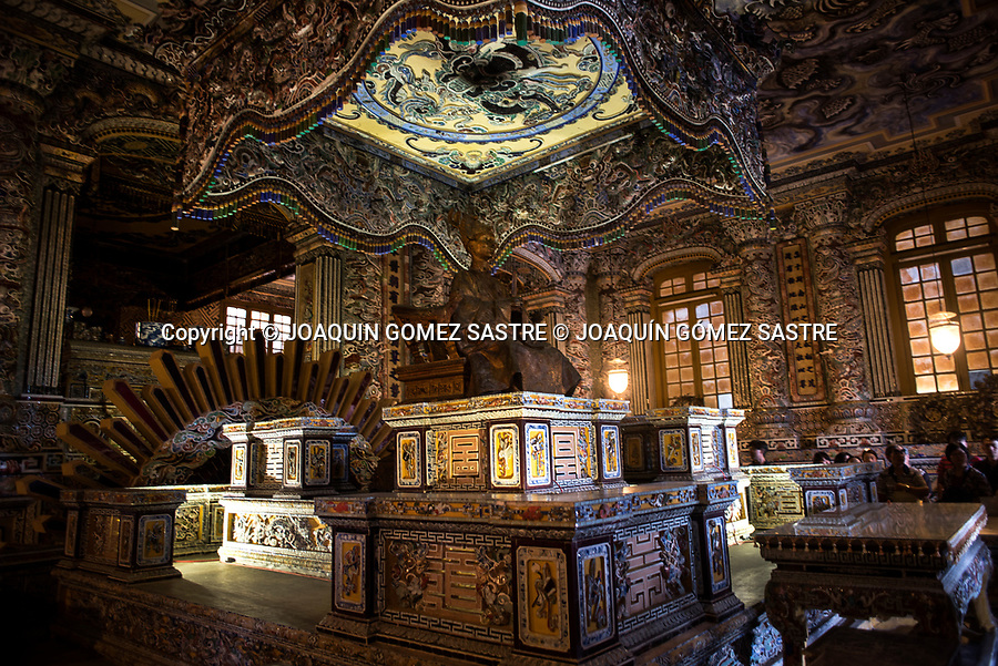 Detail of the Interior of the Imperial Tomb of Khai Thin in Hue City (Vietnam)<br /> HUE-VIETNAM