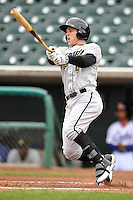 Brian Fletcher #6 of the Omaha Storm Chasers swings against the Iowa Cubs at Principal Park on May 1, 2014 in Des Moines, Iowa. The Cubs  beat Storm Chasers 1-0.   (Dennis Hubbard/Four Seam Images)