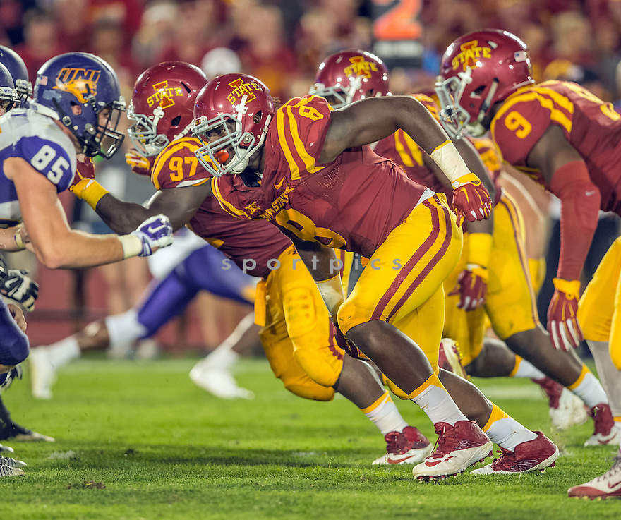 Iowa State Cyclones Jhaustin Thomas (8) during a game against the Northern Iowa Panthers on September 5, 2015 at Jack Trice Stadium in Ames, Iowa. Iowa State beat Northern Iowa 31-7.