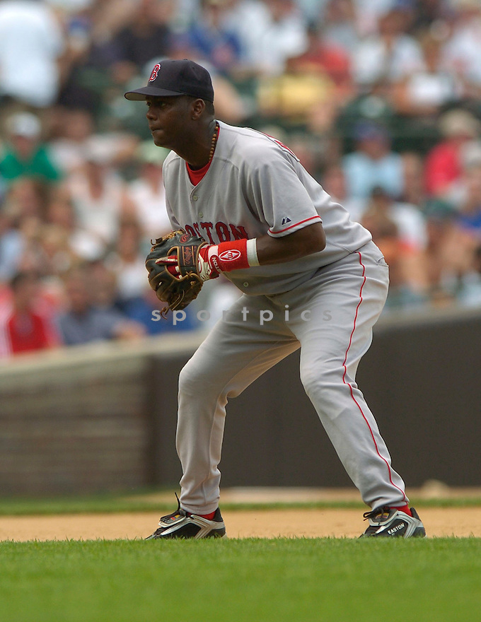 Edgar Renteria, of the Boston Red Sox, in action against the Chicago Cubs  , on June 10, 2005...Cubs win 14-6...David Durochiki / SportPics