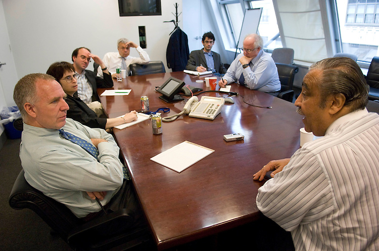 NEW YORK - May 31: House Ways and Means Chairman Charles B. Rangel, D-N.Y., right, meets with the Daily News editorial board. Rangel won his congressional seat in 1970, ousting Rep. Adam Clayton Powell Jr., in the Democratic primary. (Photo by Scott J. Ferrell/Congressional Quarterly).