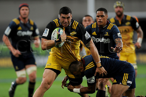 05.03.2016. Dunedin, New Zealand.  Jeffery Toomaga-Allen of the Hurricanes looks to break the defence, during the Super Rugby match between the Highlanders and the Hurricanes, at Forsyth Barr, Dunedin, New Zealand, 5 March 2016.