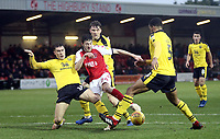 Fleetwood Town's Ashley Nadesan battles with Oxford United's Josh Ruffels (left) and Curtis Nelson<br /> <br /> Photographer Rich Linley/CameraSport<br /> <br /> The EFL Sky Bet League One - Fleetwood Town v Oxford United - Saturday 12th January 2019 - Highbury Stadium - Fleetwood<br /> <br /> World Copyright &copy; 2019 CameraSport. All rights reserved. 43 Linden Ave. Countesthorpe. Leicester. England. LE8 5PG - Tel: +44 (0) 116 277 4147 - admin@camerasport.com - www.camerasport.com