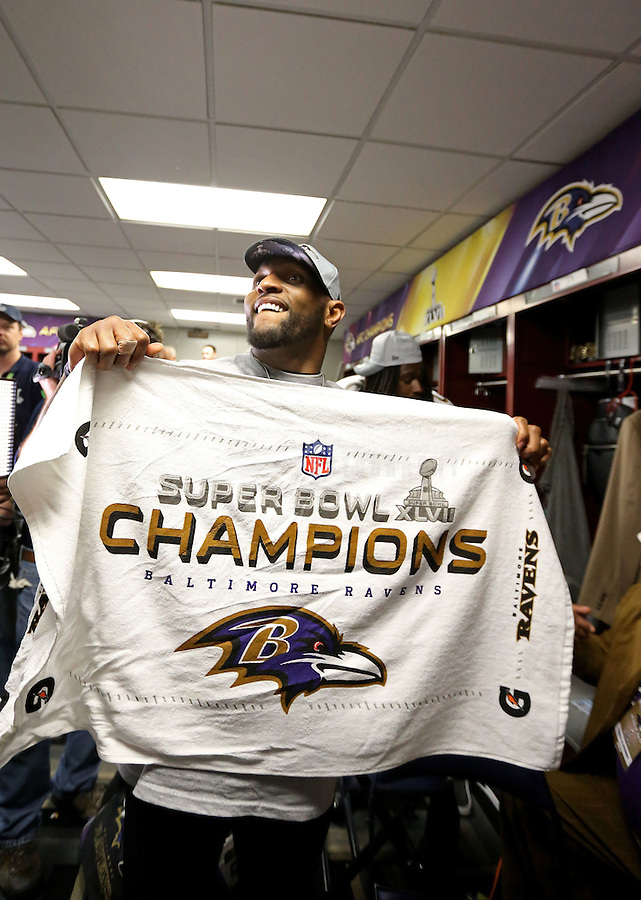 Feb 3, 2013; New Orleans, LA, USA; Baltimore Ravens inside linebacker Ray Lewis celebrates in the locker room after defeating the San Francisco 49ers in Super Bowl XLVII at the Mercedes-Benz Superdome. Mandatory Credit: Mark J. Rebilas-