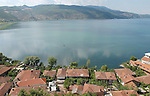 Lin-Pogradec-Albania - August 02, 2004---Partial view of the village of Lin at Lake Ohrid; region/village of project implementation by GTZ-Wiram-Albania (German Technical Cooperation, Deutsche Gesellschaft fuer Technische Zusammenarbeit (GTZ) GmbH); landscape---Photo: © HorstWagner.eu