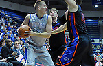 January 24, 2015 - Colorado Springs, Colorado, U.S. -   Air Force forward, Marek Olesinski #0, looks for help during a Mountain West Conference match-up between the Boise State Broncos and the Air Force Academy Falcons at Clune Arena, U.S. Air Force Academy, Colorado Springs, Colorado.  Boise State defeats Air Force 77-68.