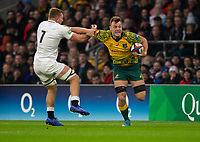 Australia's Jack Maddocks is tackled by England's Sam Underhill<br /> <br /> Photographer Bob Bradford/CameraSport<br /> <br /> 2018 Quilter Internationals - England v Australia - Saturday 24th November 2018 - Twickenham - London<br /> <br /> World Copyright &copy; 2018 CameraSport. All rights reserved. 43 Linden Ave. Countesthorpe. Leicester. England. LE8 5PG - Tel: +44 (0) 116 277 4147 - admin@camerasport.com - www.camerasport.com