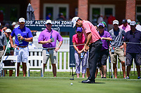 Robert Streb (USA) watches his putt on 9 during the round 1 of the Dean &amp; Deluca Invitational, at The Colonial, Ft. Worth, Texas, USA. 5/25/2017.<br /> Picture: Golffile | Ken Murray<br /> <br /> <br /> All photo usage must carry mandatory copyright credit (&copy; Golffile | Ken Murray)